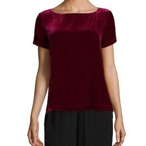 Eileen Fisher Velvet Hibiscus Short Sleeve Top